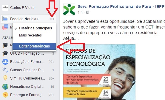 editar preferencias do Facebook ver primeiro