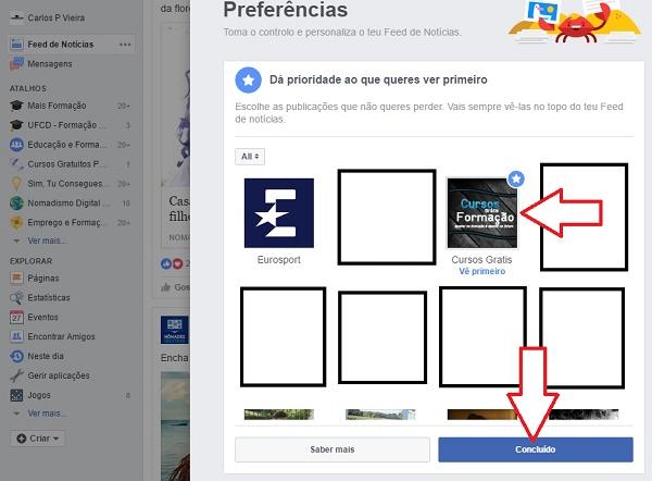 dar preferencia ao que quer ver primeiro no Facebook